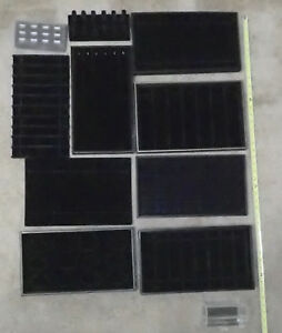 Assorted Jewelry Tray Inserts And Boxes Black Lot Of 11