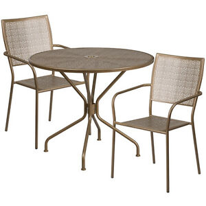 35 25 Round Gold Indoor outdoor Patio Restaurant Table Set With 2 Metal Chair