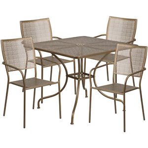 35 5 Square Gold Indoor outdoor Patio Restaurant Table Set W 4 Chairs