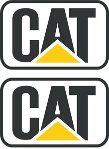Cat Stickers Decals Hard Hat Toolbox Diesel Bull Dozer Escavator Backhoe 2 Pair