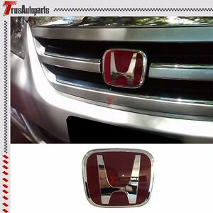 Fit 04 12 Honda Odyssey Van Jdm Red H Front Grill Emblem Badge 4 75 x4