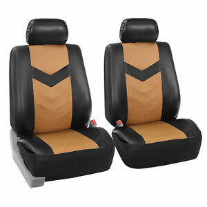 Faux Synthetic Leather Car Seat Covers Front Bucket Covers Tan Black
