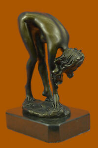 Vitaleh Bending Nude Girl Bronze Sculpture Original Figurine Masterpiece Art T
