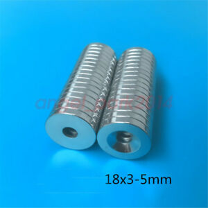 Wholesale D18mm X 3mm Countersunk Hole 5mm Disc Strong Magnets Neodymium N48