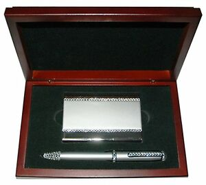 Metal Card Holder Pen Set With Swarovski Crystal Decoration In Luxury Wood Box