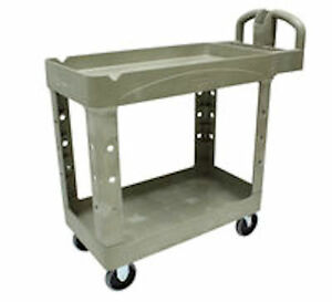 Rubbermaid Commercial Heavy Duty Pocket Shelf Utility Cart 4500 88 Beige