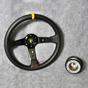 Fit 35cm Black Pvc Yellow Stitch Deep Dish Steering Wheel Hub Adapter Hornbutton
