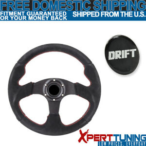 Fit Black Red Stitch Suede Racing Steering Wheel 320mm Horn 14 Inch Drift Logo