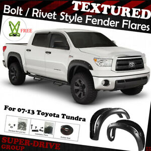4pcs Pocket Riveted Paintable Textured Fender Flares For 2007 2013 Toyota Tundra