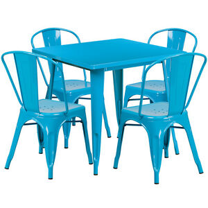 31 5 Industrial Crystal Blue Metal Outdoor Restaurant Table Set W 4 Chairs