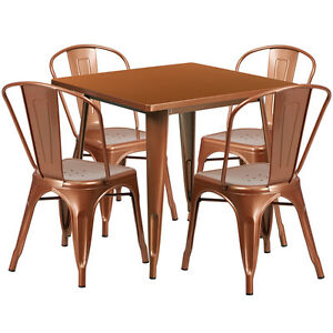 31 5 Industrial Copper Metal Outdoor Restaurant Table Set W 4 Chairs
