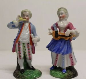 Antique Pair Of Musicians French European Porcelain Figures Figurine 4 5 Tall