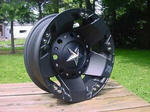 17x6 Xd Rockstar Matte Black Dually Chevy Dodge Gmc Set Of 4 8 On 6 5 Lug