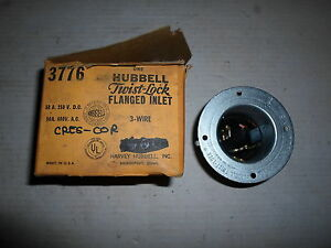 Hubbell Twist Lock Flanged Inlet 3 Wire Part No 3776 50 A
