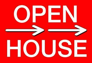 10 12x18 Corrugated Plastic open House Sign With Wire Stake 2 Sided Red