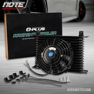 Universal 15 Row 10an Engine Transmission Oil Cooler 7 Electric Fan Kit