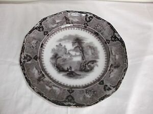 Antique Victorian English Transfer Ware Plate John Alcock Vicennes Mulberry