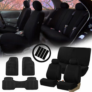 Black Car Seat Covers For Auto W steering Cover belt Pads floor Mats