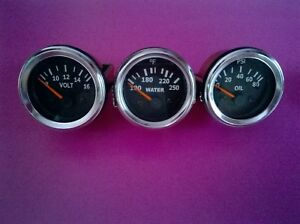 3 Pc Electrical Gauges Set Volt Gauge Water Temp Gauge Oil Pressure Gauge