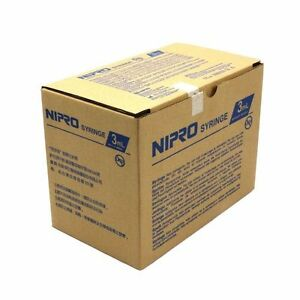 Nipro Box Of 100 3ml 3cc Sterile Syringe Only With Luer Locktip Latex Free