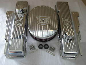 V8 Chevy Small Block Valve Covers 12 Oval Air Cleaner K n Filter Breather Pcv