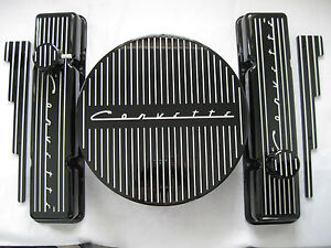 New Corvette Black Vintage Small Block Chevy Valve Covers Set Aluminum Vintage