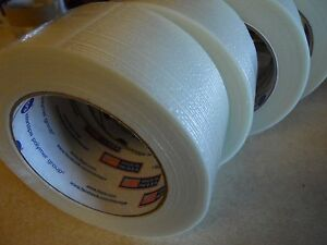 12 Rolls 2 X 60 Yds Fiberglass Reinforced Filament Strapping Packing Tape Clear