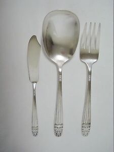 3pc Wallace Danish Queen Casserole Serving Spoon Fork Butter Knife Silver Plate