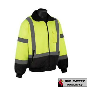 Hi vis Insulated Safety Bomber Reflective Jacket Construction Waterproof lgs