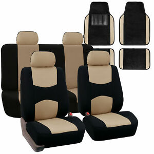 Car Seat Covers Set For Auto 4 Headrests Black Beige With Carpet Floor Mat