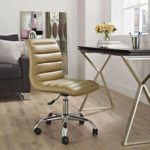 Mid back Armless Design Office Task Chair In Tan Ripple Faux Leather