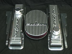 New 1957 Belair Chevy Small Block Stock Height Valve Cover Billet Aluminum Set