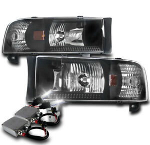 1994 2001 Dodge Ram 1500 2500 3500 Black Set Crystal Head Lights Lamp 50w 6k Hid