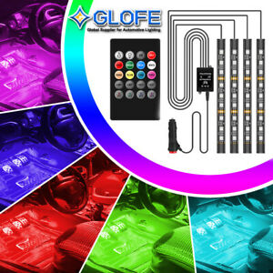 Full Color Interior Car Led Glow Kit Under Dash Foot Well Inside Light A