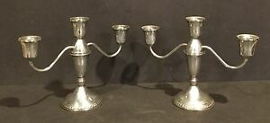 Vintage Pair Of Weighted Duchin Creation Sterling Silver Candleholders 3 Cup
