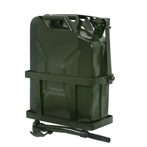 5 Gallon 20l Jerry Can Fuel Army Nato Military Metal Steel Tank Holder New