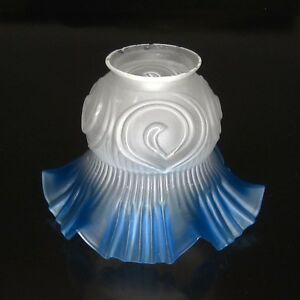 Vintage French Czechoslovakian Art Deco Frosted Glass Lamp Ceiling Shade Blue