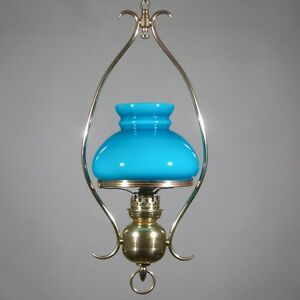 Antique French Hanging Lamp Chandelier Turquoise Blue Opaline Glass Shade