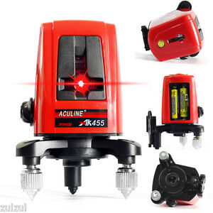 New Ak455 360 Degree Self leveling Cross Laser Level 2v1h Red 3 Line 3 Point 5mw