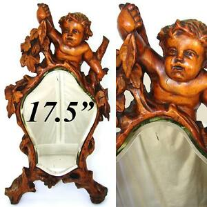 Antique Italian Renaissance Style Carved 17 5 Vanity Mirror Cherub Or Putti