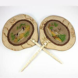 Antique Victorian Era Face Screen Pair Silk Embroidery Dog Stag Hunt Theme