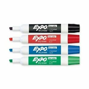 Expo Low Odor Chisel tip Dry Erase Markers 4 Colors pack Of 48