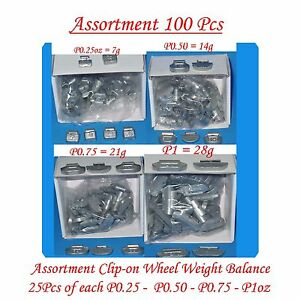 100 Pcs Assortment Clip On Wheel Weight Balance P Style P0 25 P0 50 P0 75 P1oz