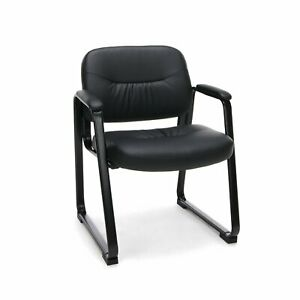 Heavy Duty Sled Base Black Leather Reception Office Side Chair Waiting Room Char