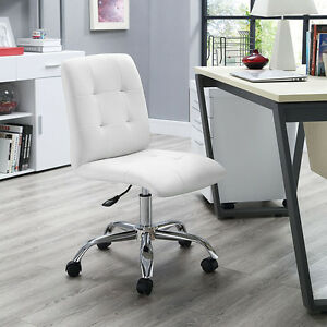 Mid back Armless Design Office Task Chair In White Tufted Faux Leather