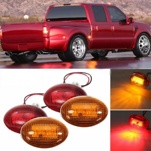 For 1999 2010 Ford F350 Amber Red Side Fender Marker Dually Bed Led Light Kit Fl