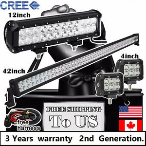 348w 42 Inch Led Light Bar 12 And 2x 4 Cree Led Pods Off Road Truck Jeep 40