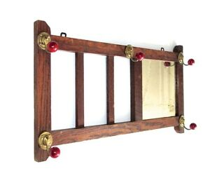 Vintage French Wooden Wall Coat Hat Rack Mirror 1930 S Paris Bistrot Style
