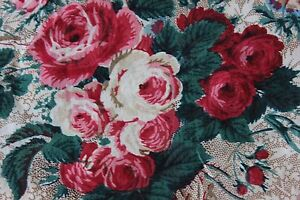 Antique Hand Blocked French Cabbage Roses Bows C1870 Chintz Fabric 18 X 22