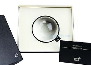 Montblanc 38211 Lifestyle Accessories Crystal Paperweight Black Leather New Box